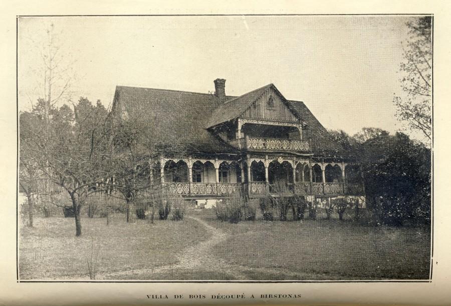 Vila su medžio drožiniais Birštone.